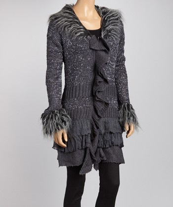 Gray Ruffle Faux Fur-Trim Marled Sweater