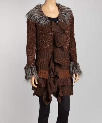 Brown Ruffle Faux Fur-Trim Marled Sweater