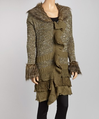 Olive Green Ruffle Faux Fur-Trim Marled Sweater