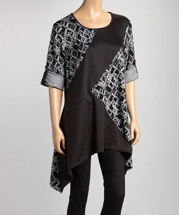 Gray & Black Abstract Sidetail Top