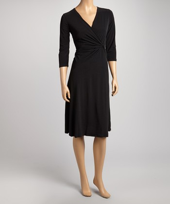 Black Twist Surplice Dress