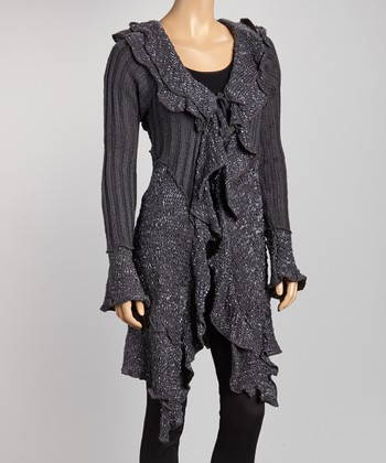 Charcoal Ruffle String-Tie Cardigan