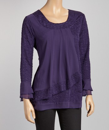Purple Pleated Scoop Neck Top