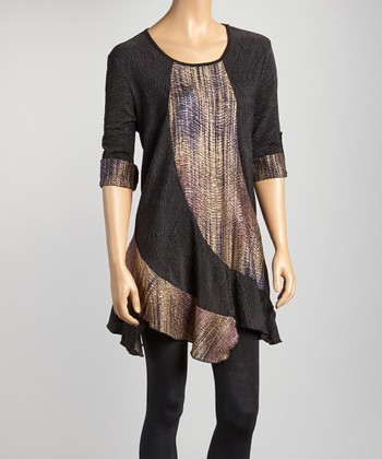 Black & Gold Wave Swing Tunic