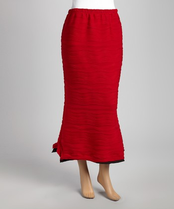 Red Wave Maxi Skirt
