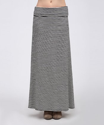 Ivory & Black Diagonal Stripe Maxi Skirt