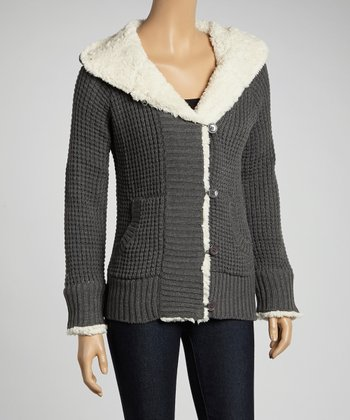 Gray & Ivory Sherpa Hooded Jacket