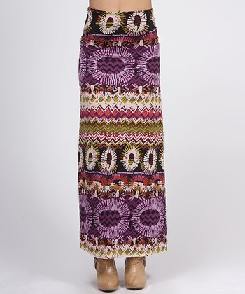 Purple & Black Geometric Maxi Skirt