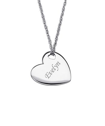 Silver Heart Personalized Pendant Necklace