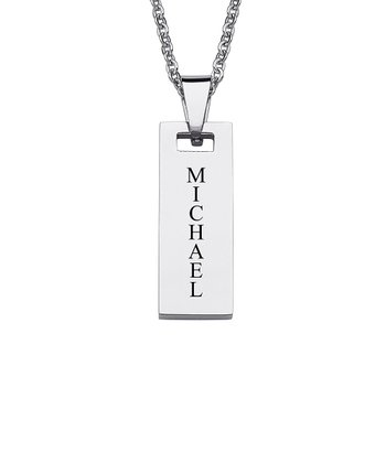 Stainless Steel Bar Personalized Pendant Necklace