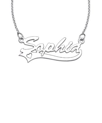 Sterling Silver Heart Tail Script Personalized Pendant Necklace