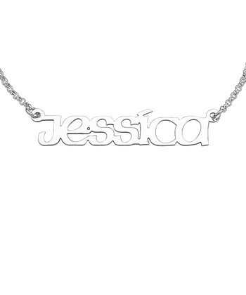 Sterling Silver Polished Print Personalized Necklace