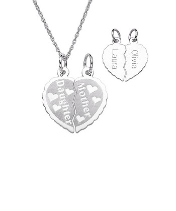 Sterling Silver Mother & Daughter Personalized Pendant Necklace