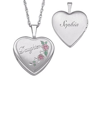 Sterling Silver Flower Heart Personalized Pendant Necklace