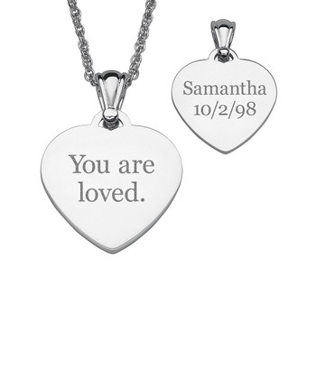 Silver Heart Message Personalized Pendant Necklace