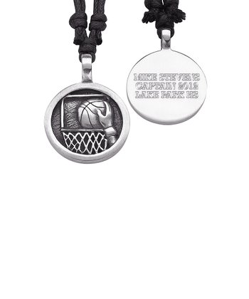 Pewter Basketball Personalized Pendant Necklace