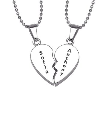 Stainless Steel Breakable Heart Personalized Pendant Necklace