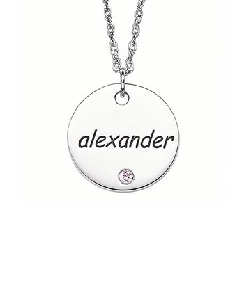 Sterling Silver Birthstone Disc Personalized Pendant Necklace