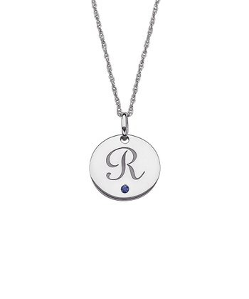 Sterling Silver Birthstone Initial Pendant Necklace