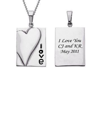 Stainless Steel 'Love' Personalized Pendant Necklace