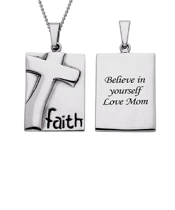 Stainless Steel 'Faith' Personalized Pendant Necklace