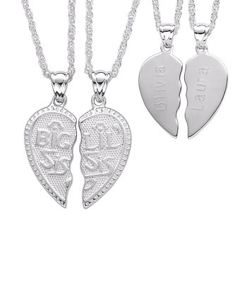 Sterling Silver 'Big Sis Lil Sis' Heart Personalized Necklace