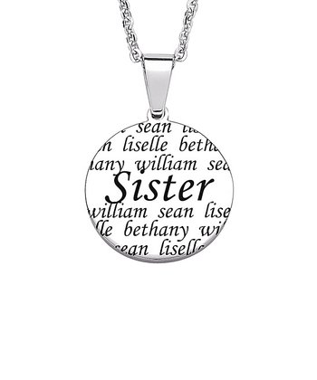 "Silver ""Sister"" Names Personalized Pendant Necklace"