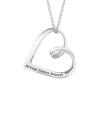 Sterling Silver 'Always Sisters' Pendant Necklace
