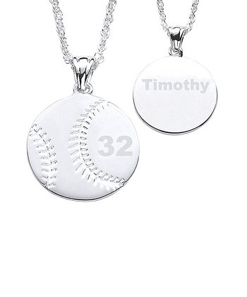 Silver Baseball Personalized Pendant Necklace
