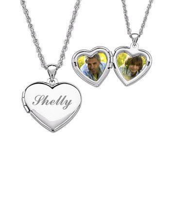 Silver Child's Heart Locket Pendant Necklace