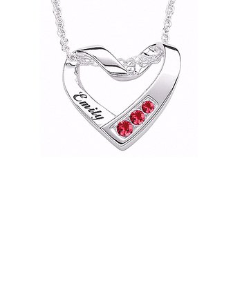 Sterling Silver Birthstone Heart Personalized Pendant Necklace