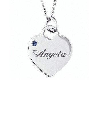Silver Birthstone Personalized Pendant Necklace