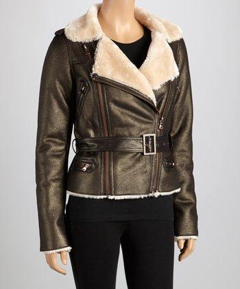 Brown Tie-Waist Faux Fur Collar Moto Jacket