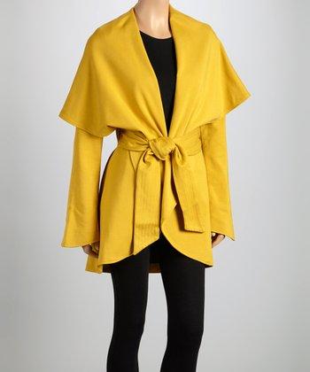 Orange Tie-Waist Shawl Collar Coat