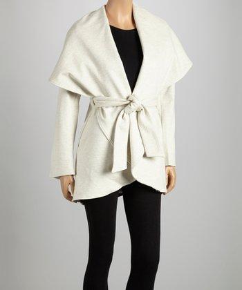 Oatmeal Tie-Waist Shawl Collar Coat