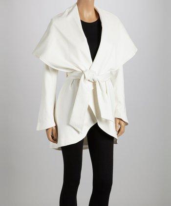 White Tie-Waist Shawl Collar Coat