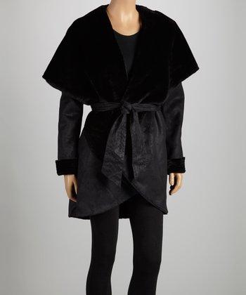 Black Tie-Waist Faux Fur Shawl Collar Jacket