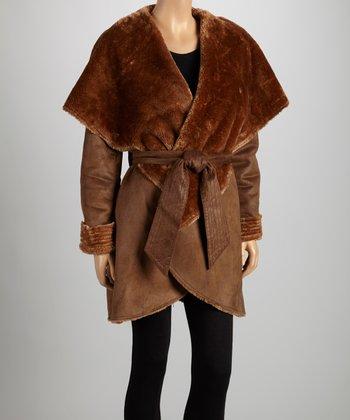 Brown Tie-Waist Faux Fur Shawl Collar Jacket