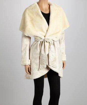 Nude Tie-Waist Faux Fur Shawl Collar Jacket