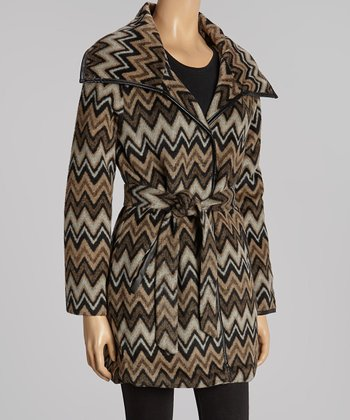 Wheat & Tan Zigzag Tie-Waist Wrap Coat