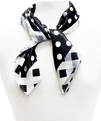 Black Polka Dot Square Scarf