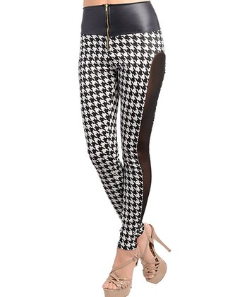 Black Semi-Sheer Houndstooth Leggings