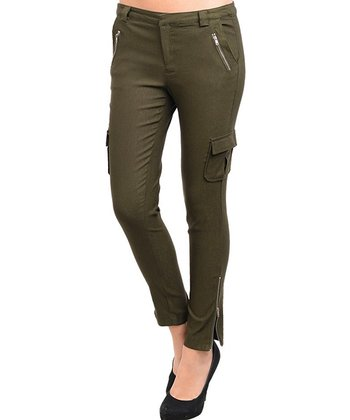 Olive Zipper Cargo Skinny Pants - Women