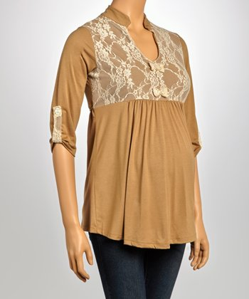 Taupe Lace Yoke Maternity Three-Quarter Sleeve Top