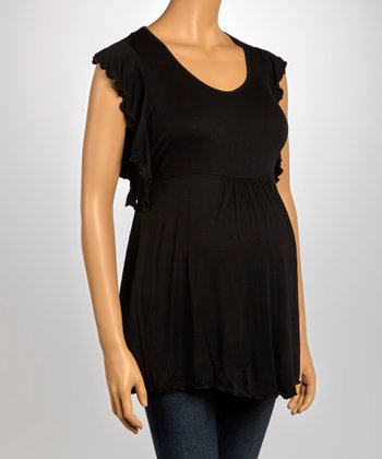 Black Lace Back Maternity Top