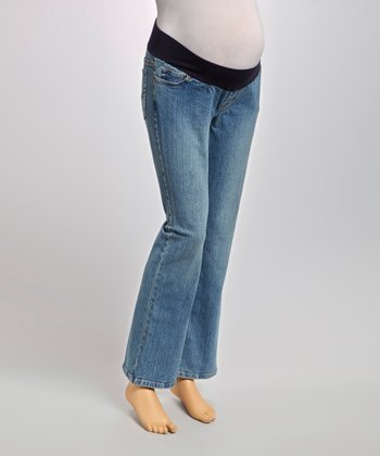 Medium Wash Loop Under-Belly Maternity Jeans