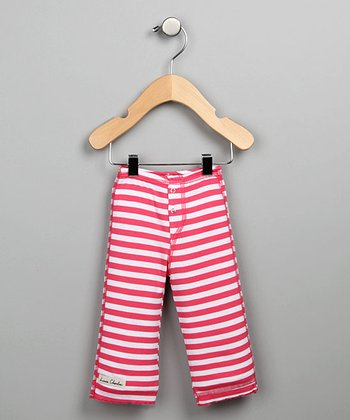 Dark Pink Stripe Snap-Fly Pants