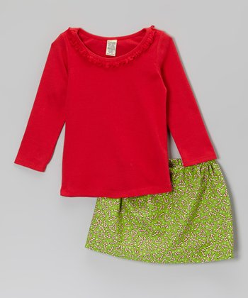 Red Ruffle Tee & Green Candy Cane Skirt - Infant, Toddler & Girls