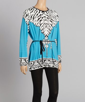 Blue & White Abstract Stripe Tunic