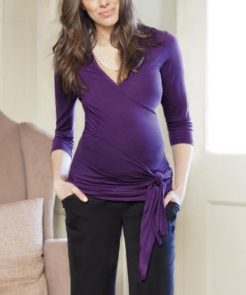 Grape Maternity Wrap Top